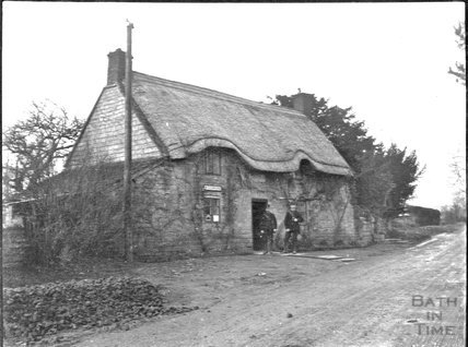 Telegraph office on an unknown country road, c.1900s