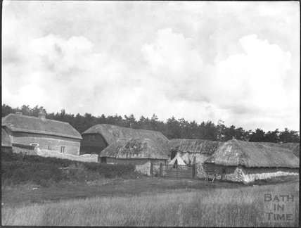 Unknown Farmhouse and thatched farm buildings, c.1900s
