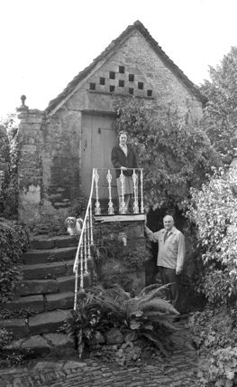 Peter and Jean Hansell, outside the Dovecote, October 1988