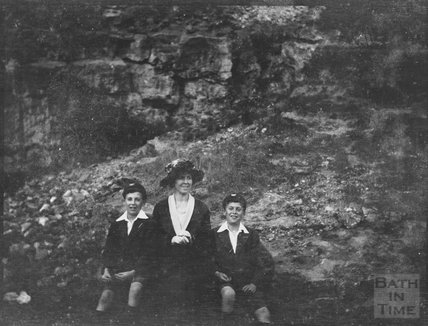 Mrs Dafnis with twin sons, at an unidentified location, possibly Bathampton Rocks, c.1920s