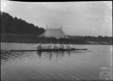 A coxed four at an unidentified rowing event, c.1900s