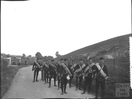 Military men on the move, c.1910