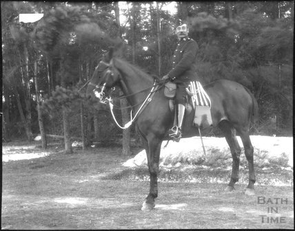 Mounted officer, unidentified military camp, c.1900s