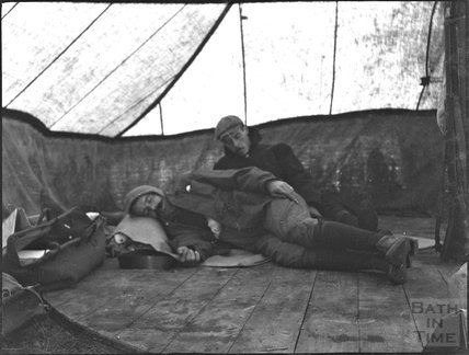 Forty winks at military camp, c.1900s