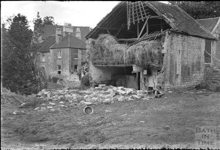 Collapsed barn in Larkhall, Bath, c.1932