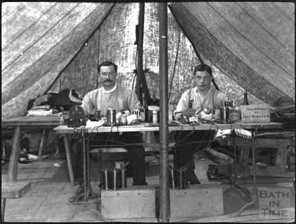 Telegraphers at an unidentified military camp, c.1900s