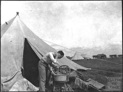 Camp life, having a wash, unidentified military camp