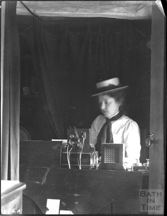 Woman operating telegraph, c.1900s