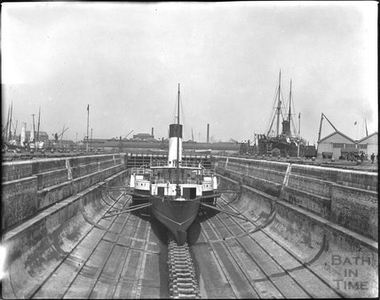 Paddle steamer in dry dock, c.1900s