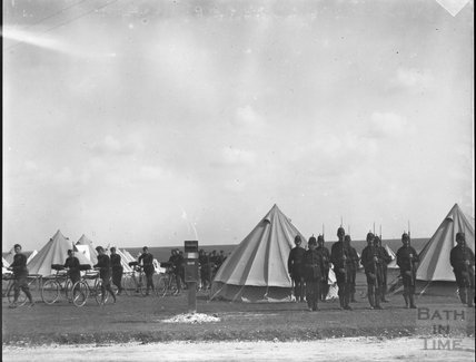 Parade / inspection, unidentified military camp, c.1900s