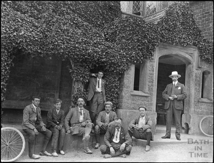 Cyclists rest at the Lansdowne Arms, Derry Hill, c.1900s