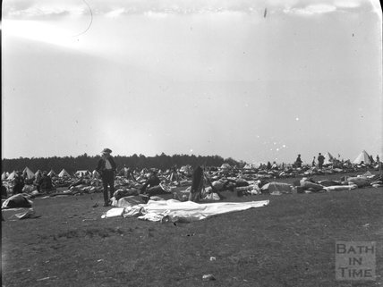 Setting up camp, unidentified military camp, c.1900s