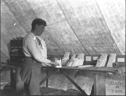 Sorting the post, unidentified military camp