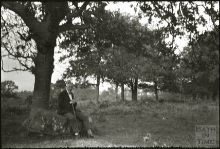 An elderly George Dafnis under a tree, c.1950s