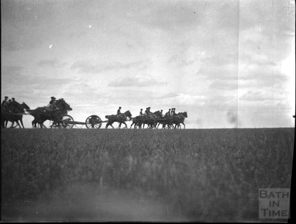 Field gun manoeuvres, unidentified military camp, c.1910s,