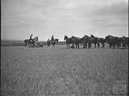 Field gun manoeuvres, unidentified military camp, c.1910s
