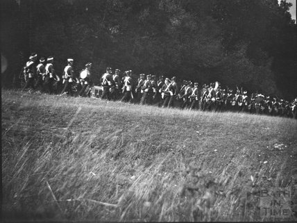 Military band on the move, c.1910s