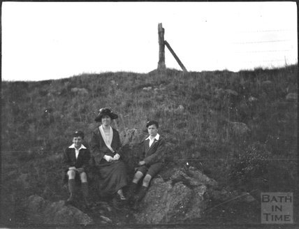 Mrs Dafnis with twin sons, unidentified location, c.1920s