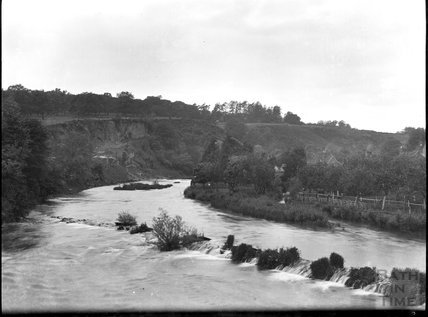 River bend and weir, unidentified location, c.1900s