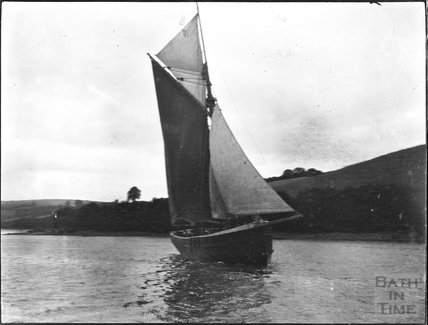 Sailing dinghy in unidentified location, possibly the Dart, c.1900s