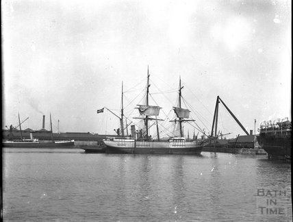 Rigged ship in unidentified location, c.1900s
