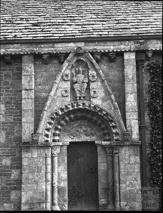 Norman doorway, All Saints, Lullington, c.1900s