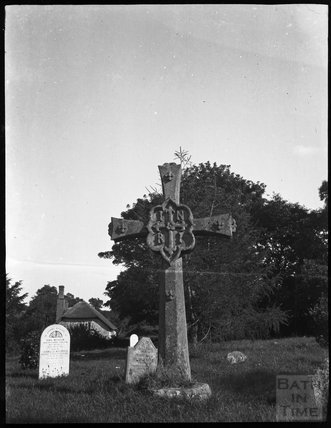 Large Victorian cross in Stogumber churchyard c.1900s