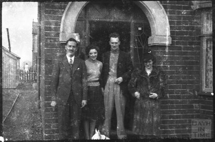 Members of the Dafnis family outside 43 Derwent Road, Warrington, autumn 1939