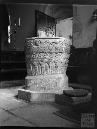 The font, All Saints Church Lullington, near Beckington, Somerset c.1900