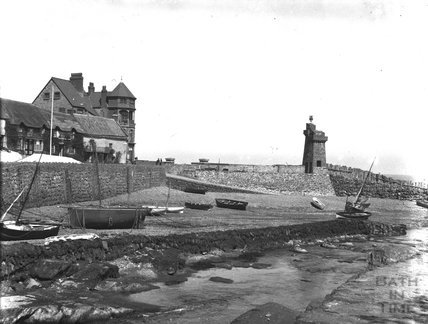 Harbour wall, Harbour Point House and Renish Tower, Lynmouth c.1900s