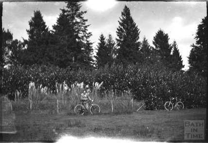 Cyclists at an unknown spot in the countryside, c.1900s