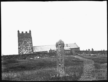 Wayside cross and Church of St Symphorian, Forrabury, Cornwall c.1900s