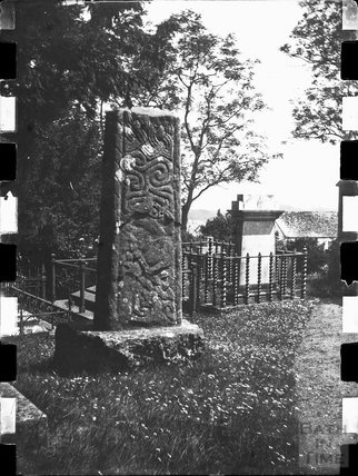 Remains of Saxon/Celtic cross shaft in an unknown churchyard c.1900s