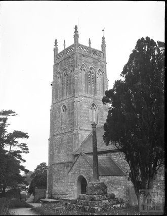 Church and churchyard cross, St Gregory, Weare, Somerset c.1900s