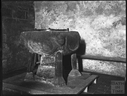 Ancient font at St. Materiana's Church, Tintagel, c.1900s