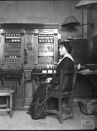 Telephonist at work, c.1900s