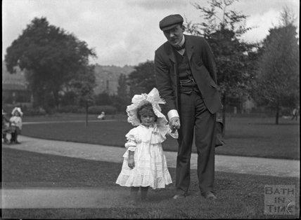 Little girl in Henrietta Park, early 1900s