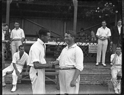 Handshake between cricketers, location unknown c.1940s