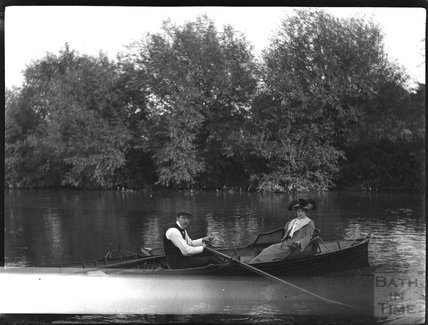 Rowing in an unknown location, early 1900s