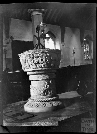 Font, All Saints Church, Bisley, Gloucestershire c.1900s