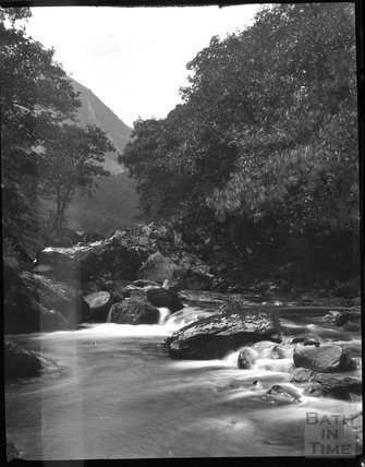 Unknown rocky stream, probably Lynmouth Gorge c.1900s