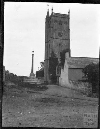 Village cross and church of St Peter & St Paul in Bleadon c.1900s
