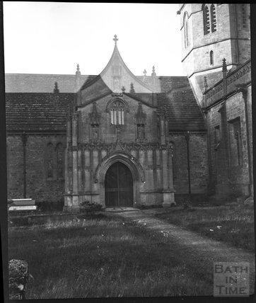 Gothic porch, Church of St Aldhelm, Doulting c.1900s