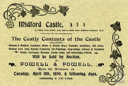 Invitation to Private view at Midford Castle, 6 April 1899