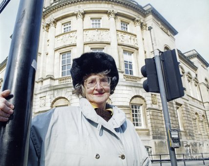 Margaret Feeney outside the Guildhall, Bath 1996?