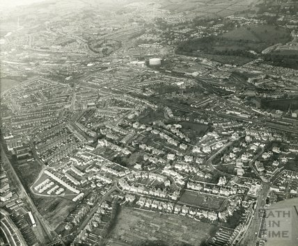 1969 Aerial view of Bloomfield Avenue and Lower Bristol Road, towards Twerton, Bath