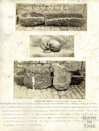 Skeleton, Skull and Stone Coffin Slabs found 1872