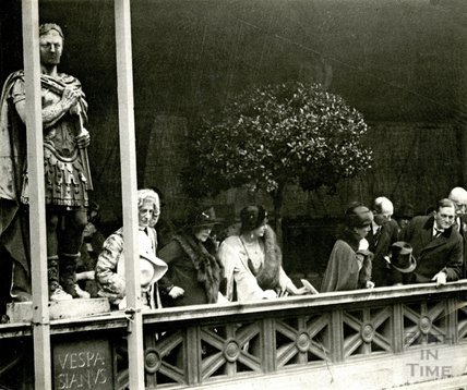 Princess Beatrice watching Roman Market at the Roman Baths, from the terrace, October 20th 1925