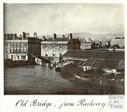 The Great Floods in Bath, Old Bridge from the railway, November 13th-15th 1894