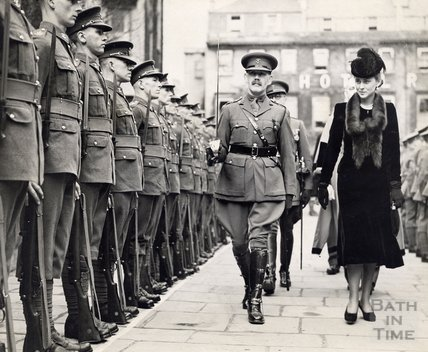 HRH The Duchess of Kent, inspecting a Guard of Honour of the Somerset Light Infantry on arriving to reopen the historic Assembly rooms at Bath. October 19th 1938